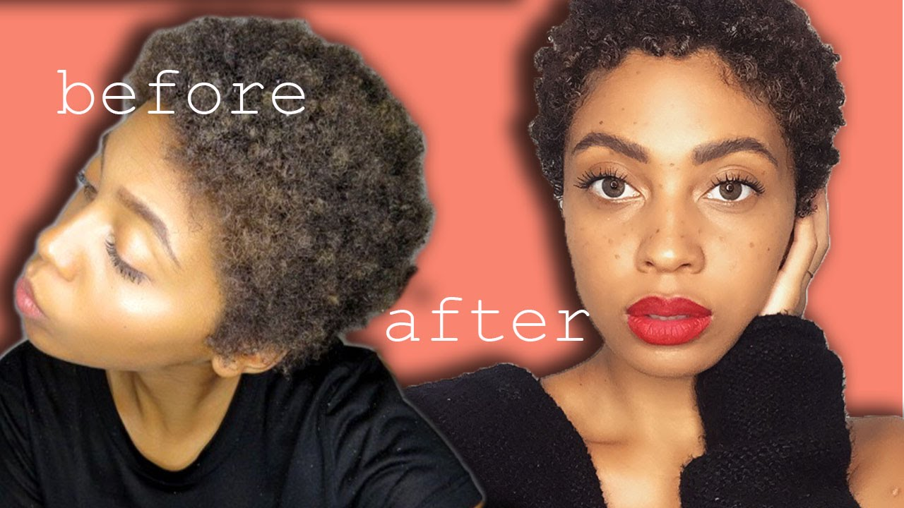 natural hair tutorial: how to do a wash and go on 4c twa super short hair step by step