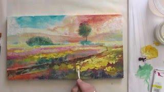 Как рисовать акрилом.  Прованс.(Живопись акриловыми краскам на текстурной поверхности. Работа жидким акрилом. Учимся рисовать акриловыми..., 2016-05-18T05:37:32.000Z)