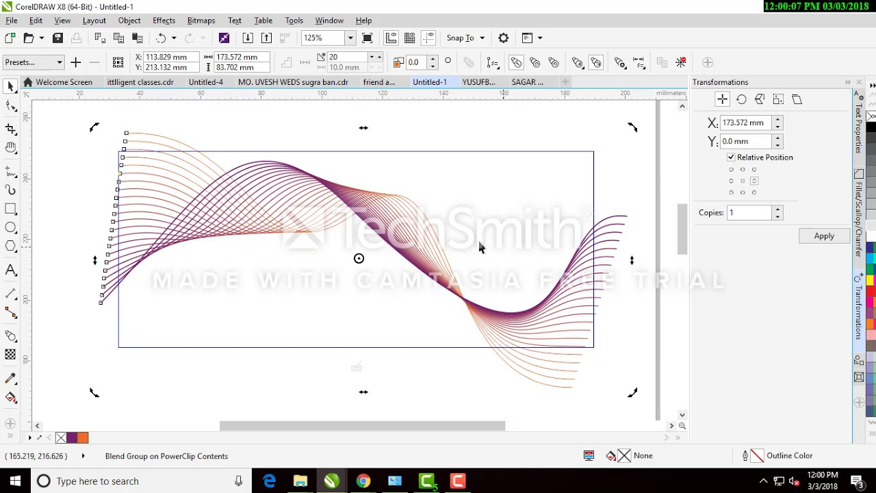 corel draw x7 x8 simple wave design