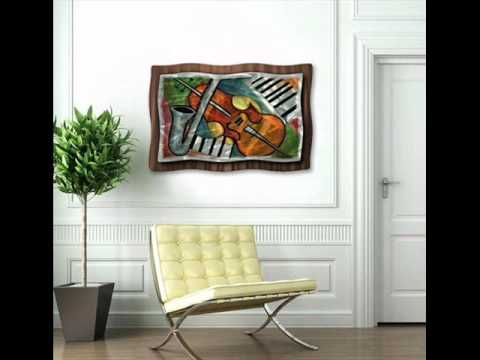 Musical Melody Instruments Collage Metal Wall Art Decor Hanging.wmv