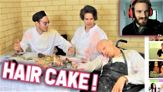 PewDiePie Reacts to FILTHY FRANK &quotHAIR CAKE&quot (w iDubbbz, Maxmoefoe and HowtoBasic)