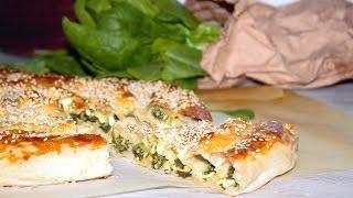 Спиральный пирог со шпинатом и сыром. Пирог-улитка/ Spiral pie with spinach and cheese. Snail pie