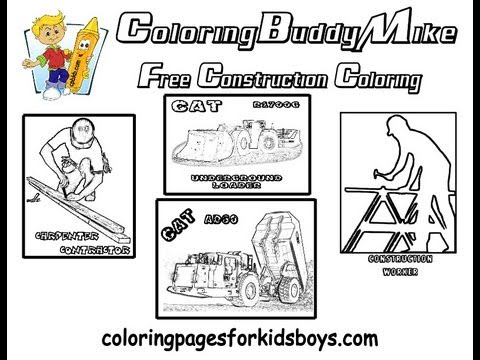 ColoringBuddyMike: Construction Trucks And Equipment Coloring Pages