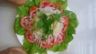 cách làm salad( xà lách )trộn giấm chua ngọt.