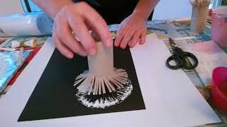 #02 Dandelion flowers /toilet Roll art / acrylic Paint