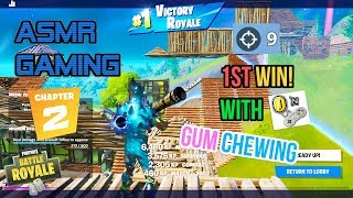ASMR Gaming | Fortnite Chapter 2 1st Win! Relaxing Gum Chewing 🎮🎧Controller Sounds + Whispering😴💤