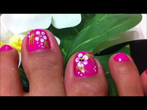 How To Design Flower On Toe Nails Youtube