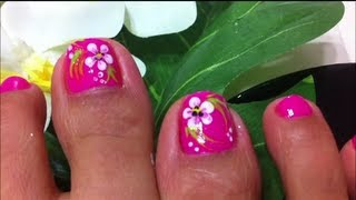 how to design flower on toe nails