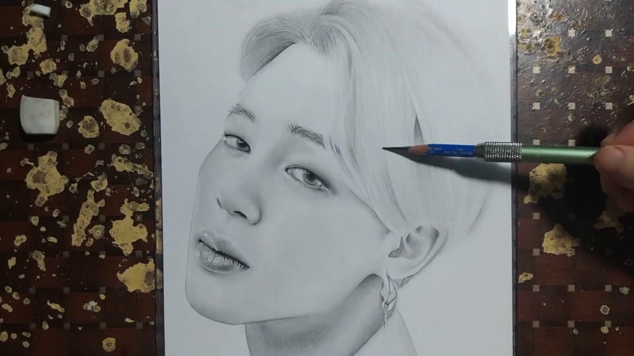 Drawing BTS: Jimin (박지민) Boy With Luv | Vẽ Tranh chân dung/Drawing KhanhNguyen