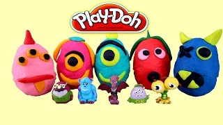 Play Doh Surprise Eggs Monsters University Mike and Sulley Huevos sorpresa Plastilina