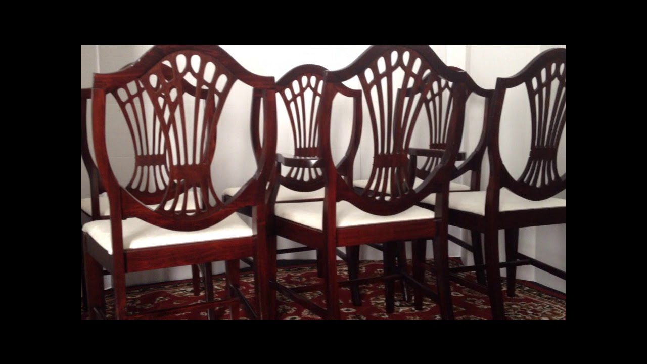 MID CENTURY FURNITURE 4 LESS.COM 6 MAHOGANY SHIELD BACK DINING ROOM CHAIRS