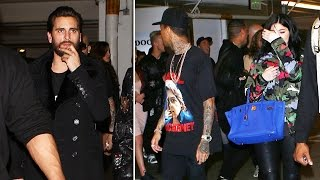 Kylie And Tyga Leave Club Ahead Of Scott Disick, Scott, Escorted By Blondes, Looks Confused