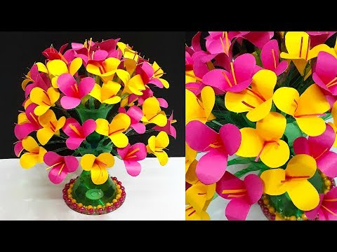 DIY-Paper flowers Guldasta made from waste Plastic bottles Paper ka Guldasta Banane ka aasan Tarika