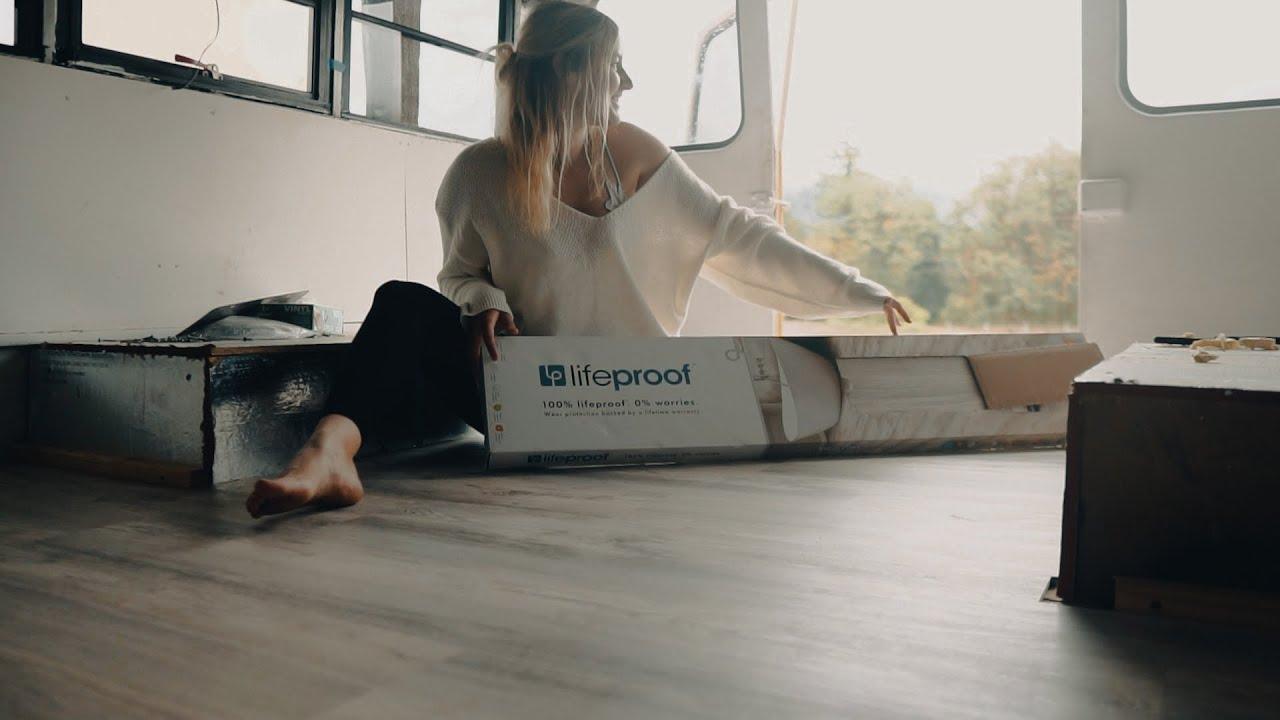 Installing LifeProof Flooring in my Skoolie - Solo Female Short Bus Build