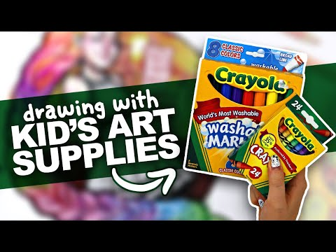 Making ART with CHEAP SUPPLIES?! | Crayola Art Challenge | Grade School Art Supplies