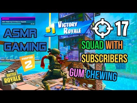 ASMR Gaming | Fortnite Subscriber Squad 17 Kills Relaxing Gum Chewing 🎮🎧 Controller Sounds 😴💤