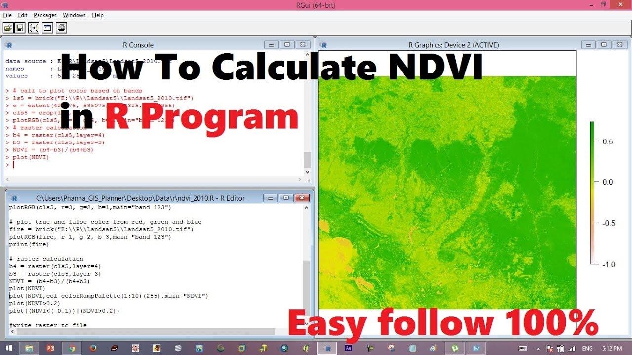 How to calculate NDVI in r program | calculate ndvi in raster calculator