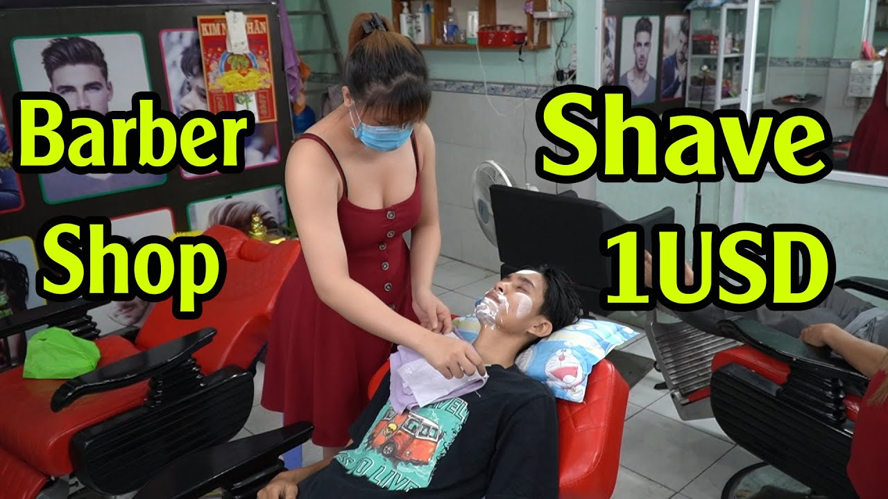 Vietnam Barber Shop Shave ASMR Relax with Girl 2020
