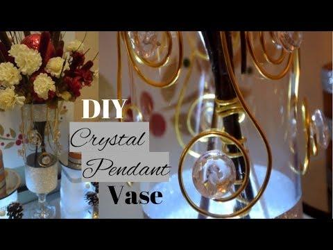 DIY Glam Bling Centerpiece| Crystal Pendant DIY| Dollar Tree Elegant Home Decor|
