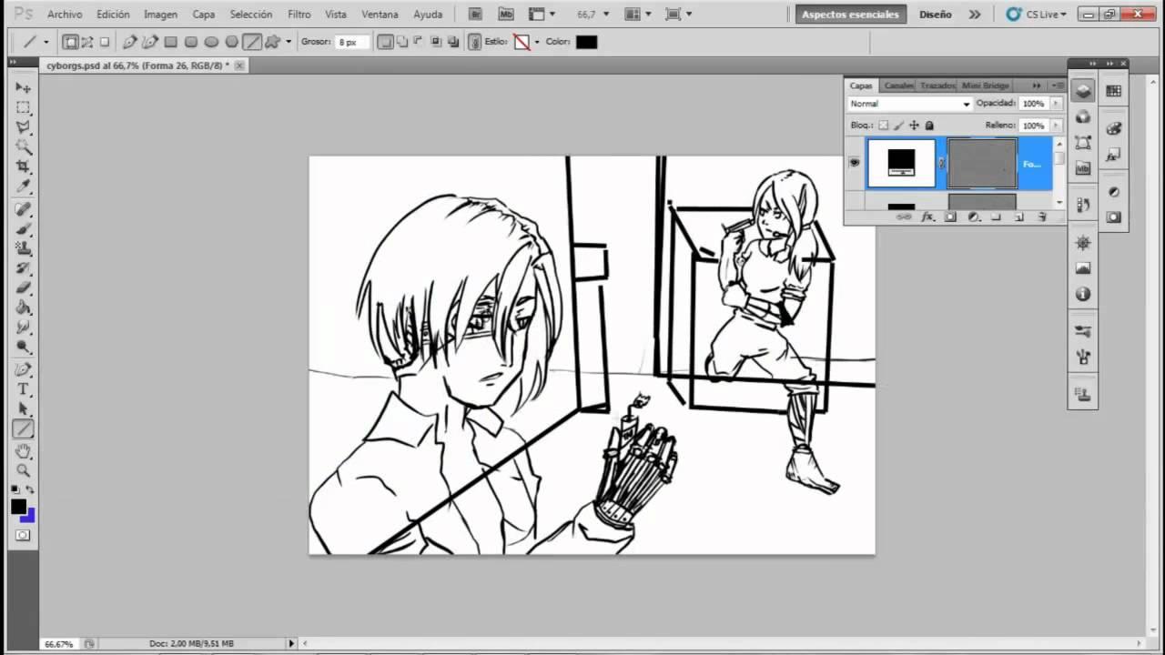 Worksheet. 4 Reto de dibujo manga Cyborgs y paisaje speed paint  YouTube