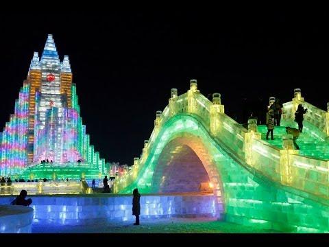 Харбин.Открытие знаменитого фестиваля ледяных скульптур