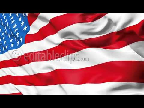 Realistic 3d Seamless Looping USA Flag Waving In The Wind.