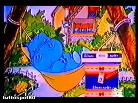 Spot - LINES NOTTE 1984 con cartone IPPOPOTAMO PIPPO