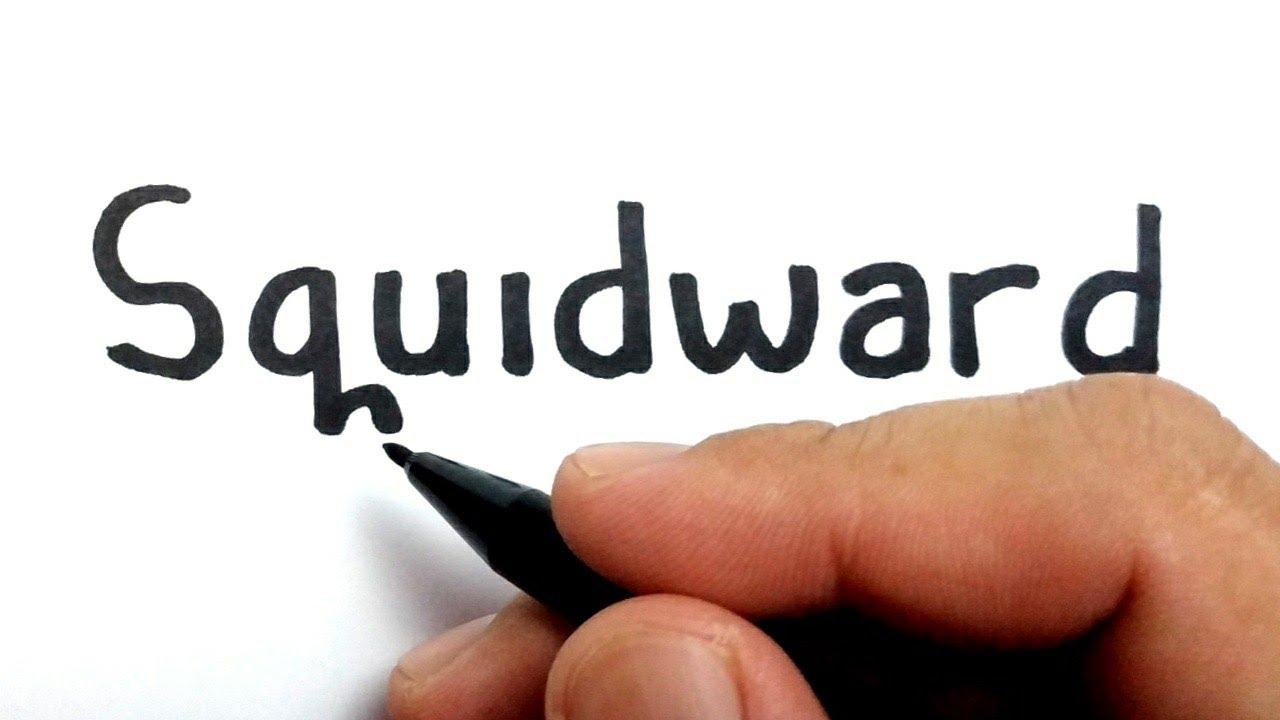 LUCU, cara menggambar kata SQUIDWARD menjadi squidward teman spongebob squarepants