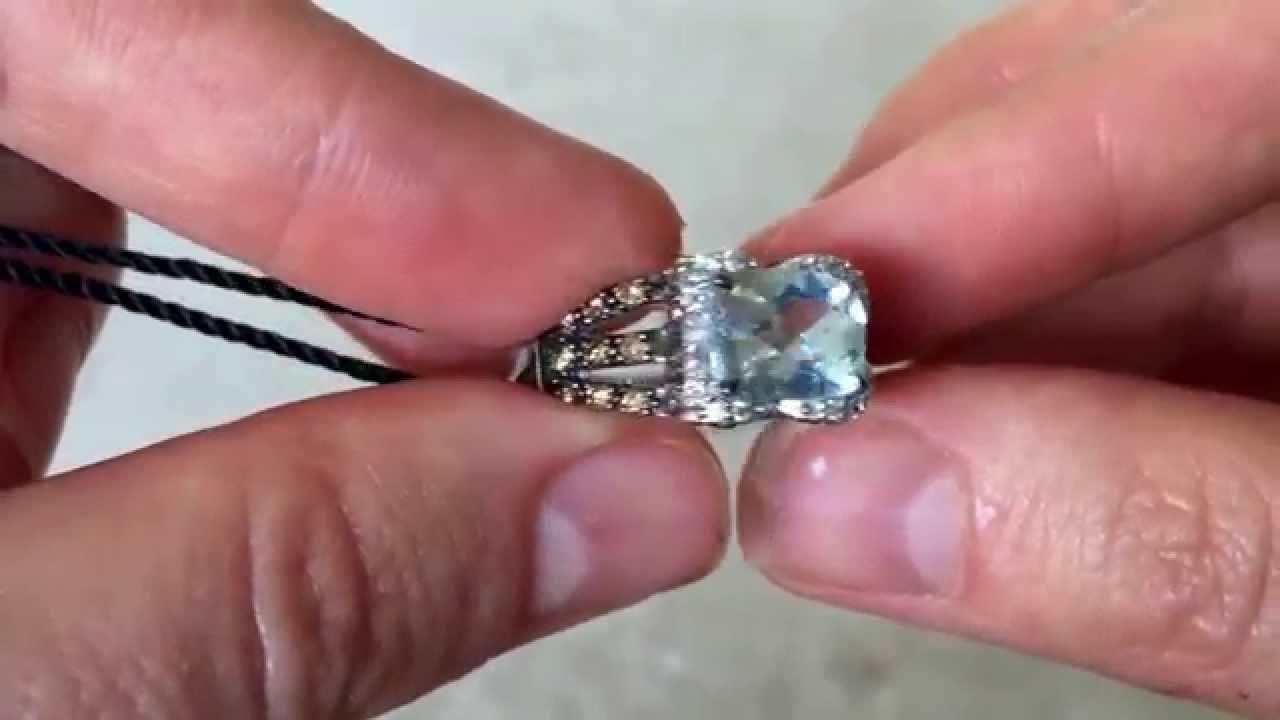 LeVian Aquamarine Chocolate and Vanilla Diamonds ring in 14K White ...