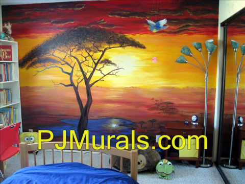 Delightful African Sunset Mural Painting   YouTube