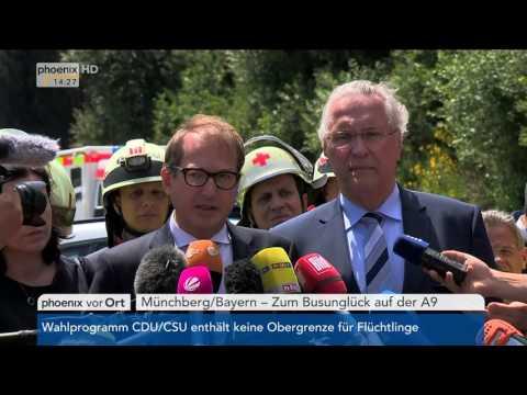 Busunfall auf A9: Alexander Dobrindt und Joachim Herrmann geben Statements am 03.07.2018