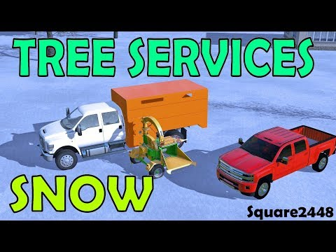 Farming Simulator 17 | Tree Services | Clearing Trees On Road | Heavy Snow | F650 | Wood Chipper