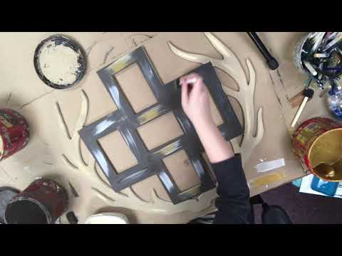 Wooden Unfinished Triple Antler Frame, Wooden DIY Craft Tutorial