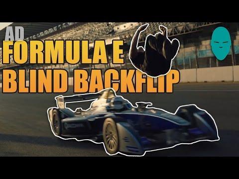 Damien Walters vs Formula E car - Blind Backflip