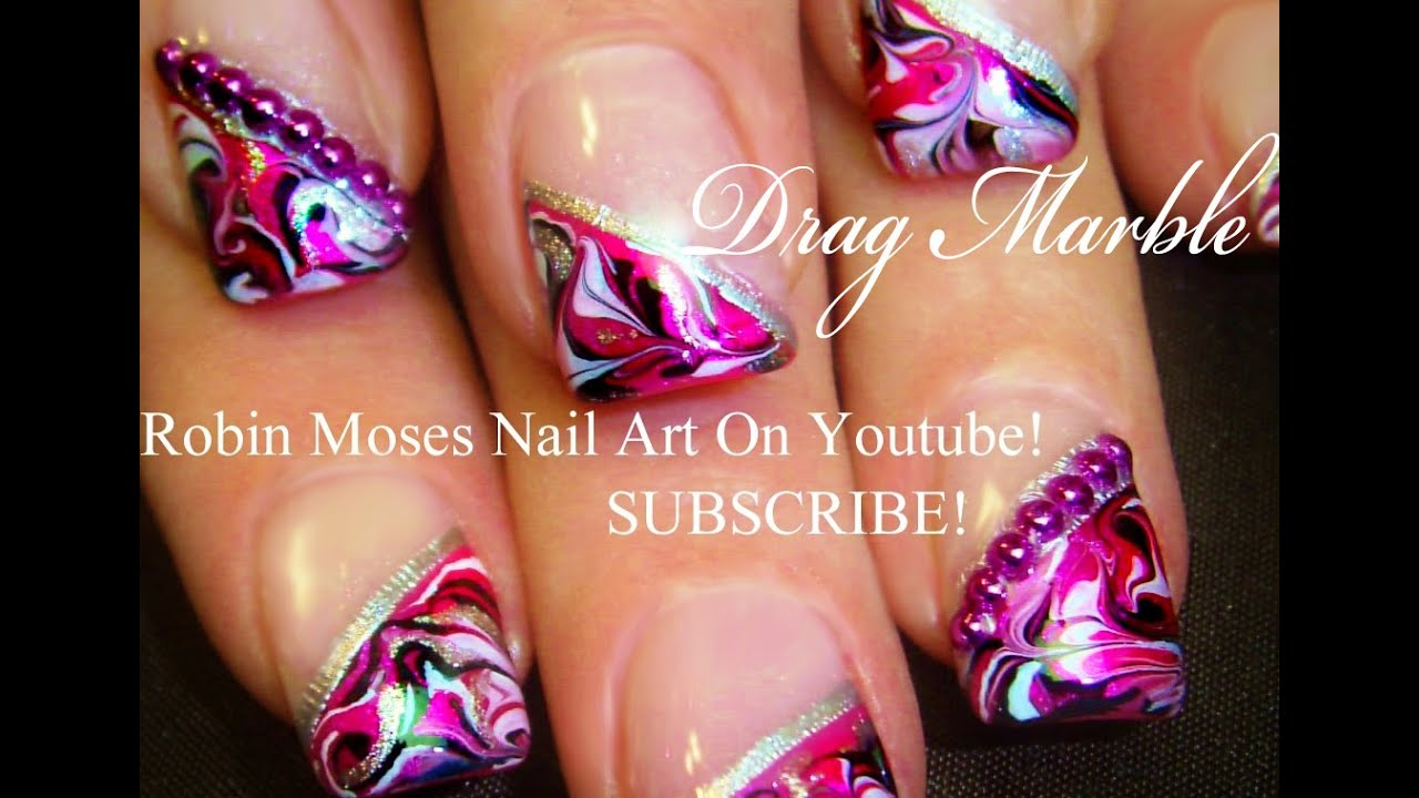 No Water Needed - DIY Marble nail art Tutorial - YouTube