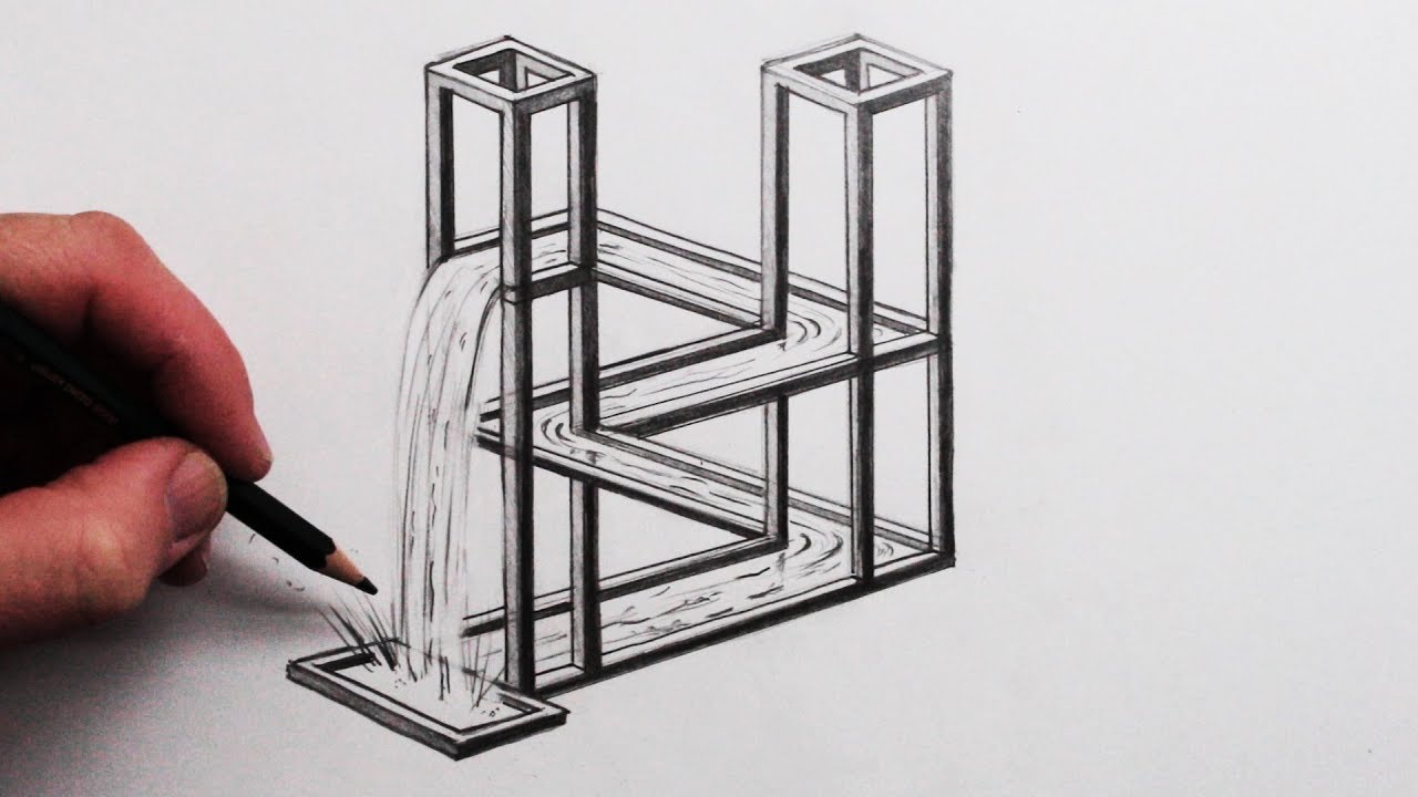 How To Draw The Impossible Waterfall 3d Optical Illusion Youtube