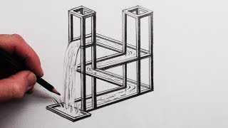 How to Draw The Impossible Waterfall 3D Optical Illusion