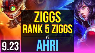 ZIGGS vs AHRI (MID) | Rank 5 Ziggs, 1.1M mastery points, KDA 11/3/6 | Korea Master | v9.23