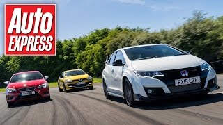 New Honda Civic Type R vs Leon Cupra 280 vs Megane RS Trophy track battle