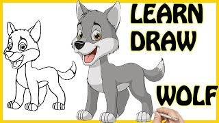How To Draw Cute Baby Wolf Easy Step By Step For Kids Learn How To Draw Animals Coloring Pages YouTube