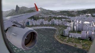 FSX - Flight Simulator X - RIO de JANEIRO Santos Dumont RW02R Landing TAM A320 Neo1080p HD