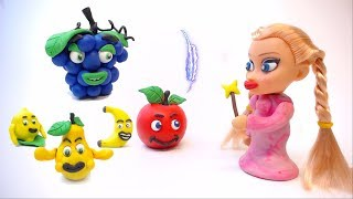 CLAY PRINCESS BABY LEARN FRUITS - Stop Motion Cartoons Animation