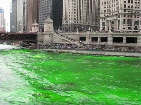 Dyeing the Chicago River Green - Saint Patrick