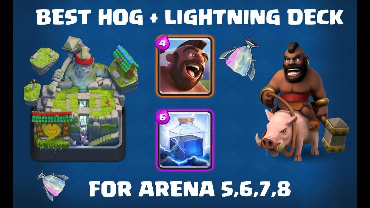 Clash Royale Naik Ke Legendary Arena Hog Lightning Deck For Arena 5 6 7