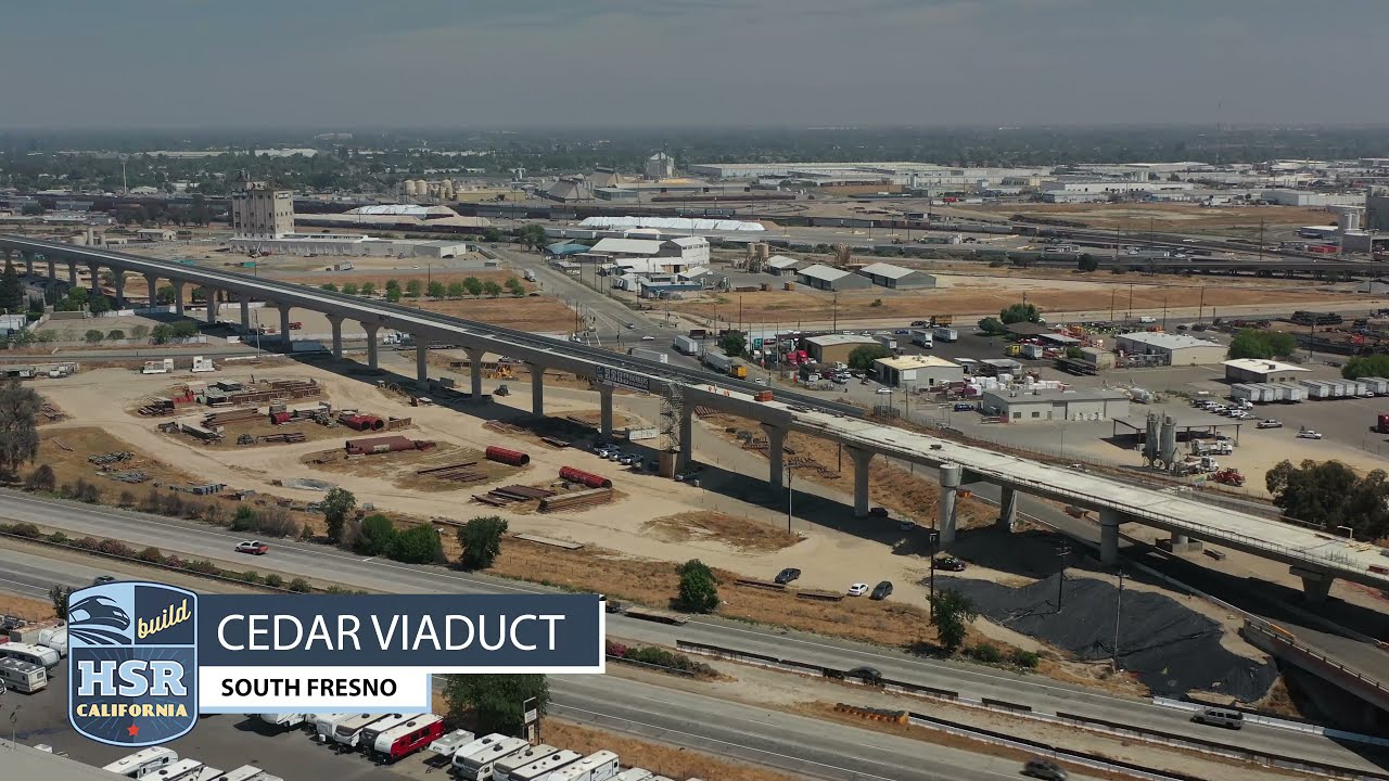 A few drone shots above the massive Cedar Viaduct in South Fresno, taken in April of 2021.  The 3,700-foot Cedar Viaduct will carry high-speed trains over State Route 99, North Avenue, Cedar Avenue, and Golden State Boulevard.  For more information go to www.BuildHSR.com