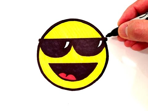 Wie kaltes Smiley-Gesicht mit Sonnenbrille zu zeichnen