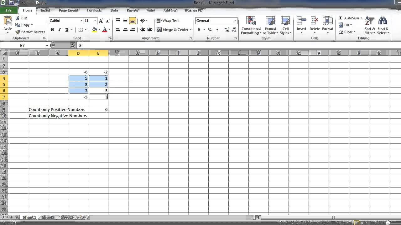 How to make an excel column negative - How To Count Only Positive Or Negative Numbers In Excel