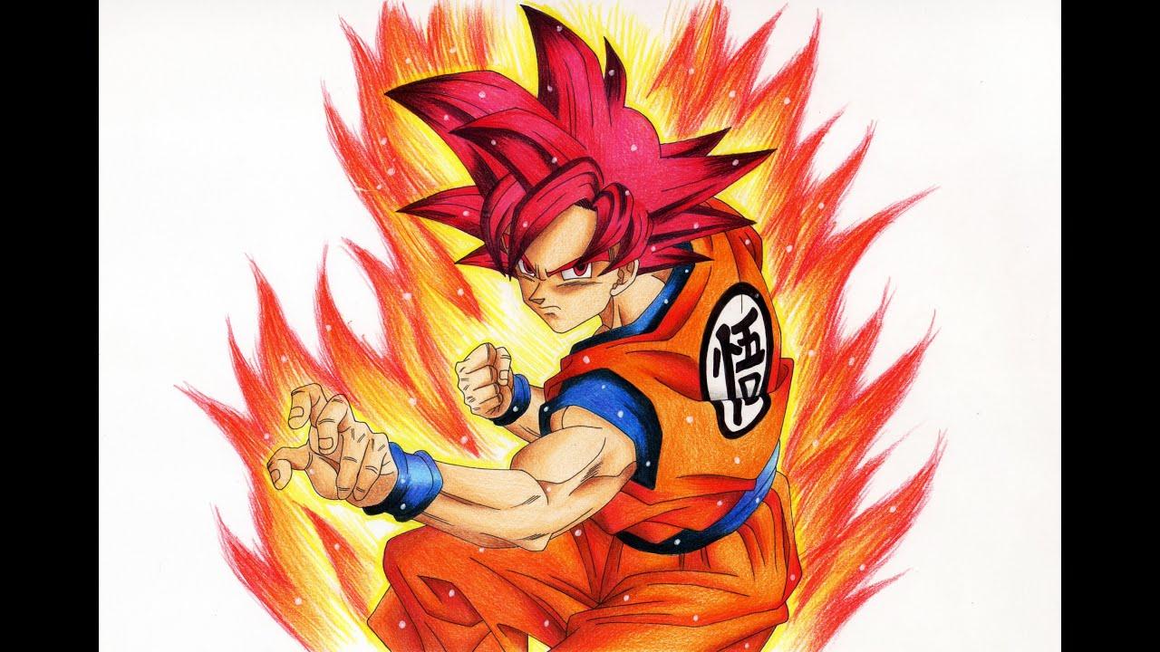 孫悟空 超サイヤ人ゴッド 描いてみた Drawing Goku Super Saiyan God Youtube