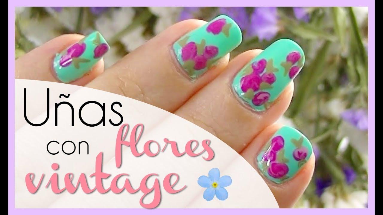Primavera Uñas Con Flores Vintage