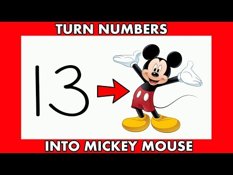 Must Watch ! How To Draw Mickey Mouse From Numbers 13 For Beginners